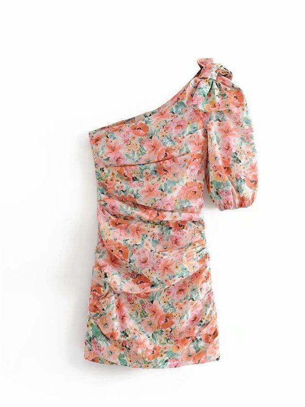 Print Floral Draped Bodycon Mini Dress