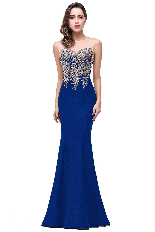 Elegant Appliques Lace Long Mermaid Bridesmaid Dress