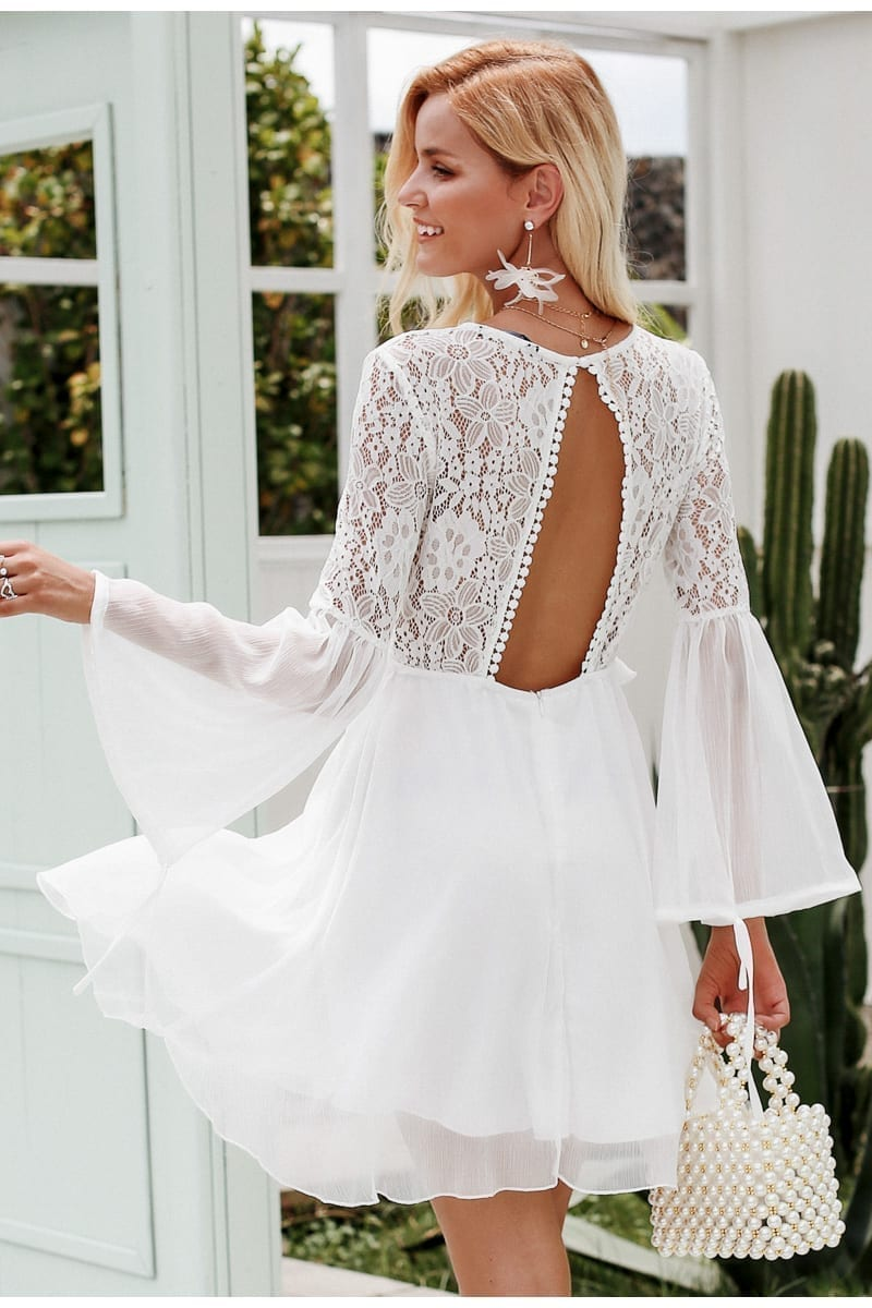 Embroidery Flare Sleeve Hollow Out Vintage Dress