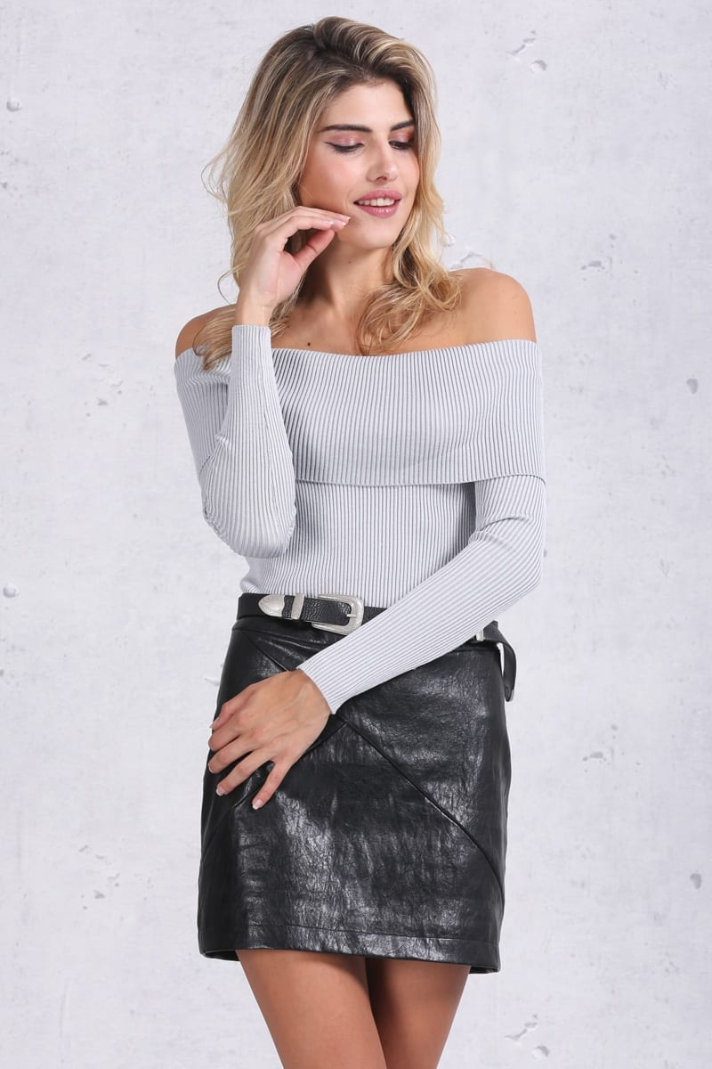 Gray Off Shoulder Bodycon Sweater