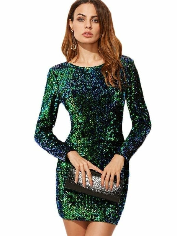 Elegant Green Long Sleeve Sequin Bodycon Dress