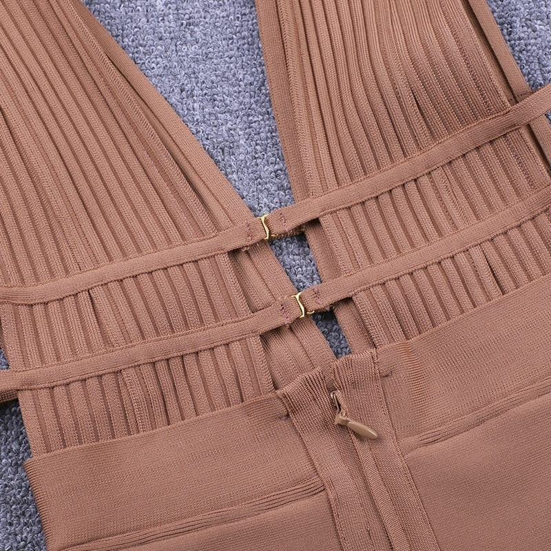 Deep V Neck Cut Out Bandage Bodycon Dress