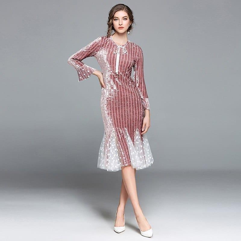 Elegant Velvet Tulle Patchwork O Neck Long Sleeve Knee-length Mermaid Dress