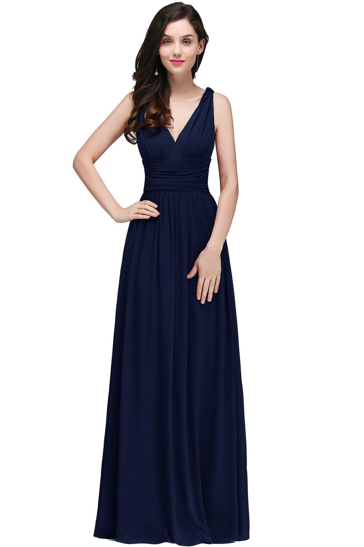 Royal Blue Chiffon V Neck Sleeveless Long Bridesmaid Dress