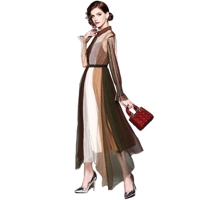 Elegant Turn-down Collar Long Sleeve Patchwork Long Dress