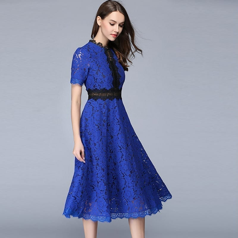 Lace Hollow Out A-line Elegant Office Dress