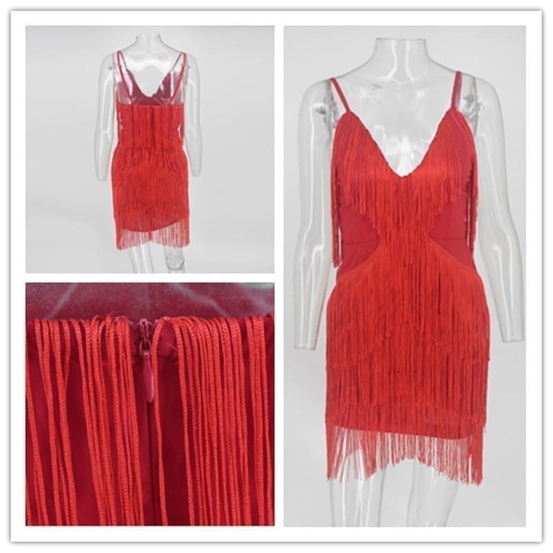 White Black Red Backless Elegant V Neck Mini Dress With Tassel