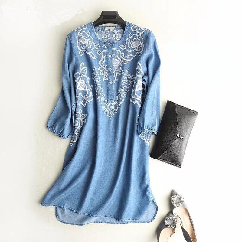Embroidered O Neck Long Sleeve Shirt Denim Dress