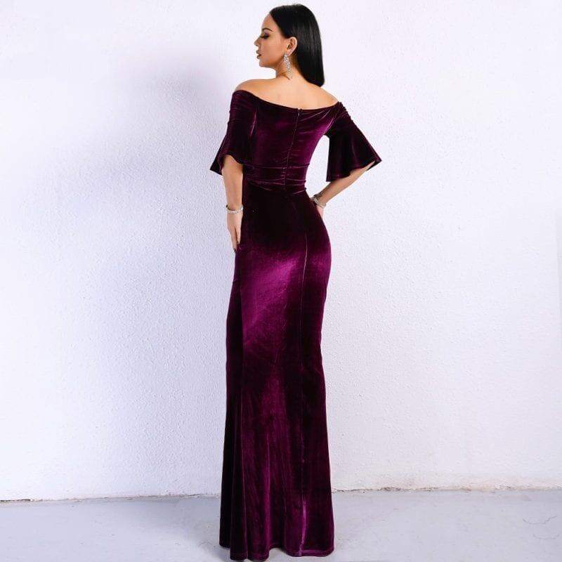 Purple Off Shoulder Velvet Bodycon Elegant Dress
