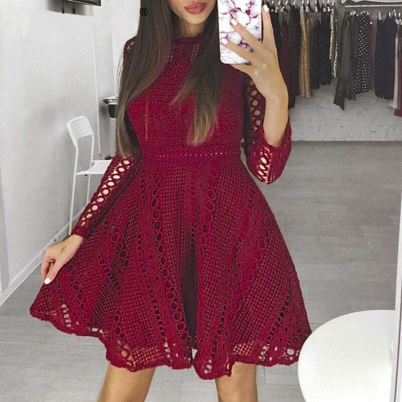 Elegant Burgundy White Lace Long Sleeve Hollow Out Dress