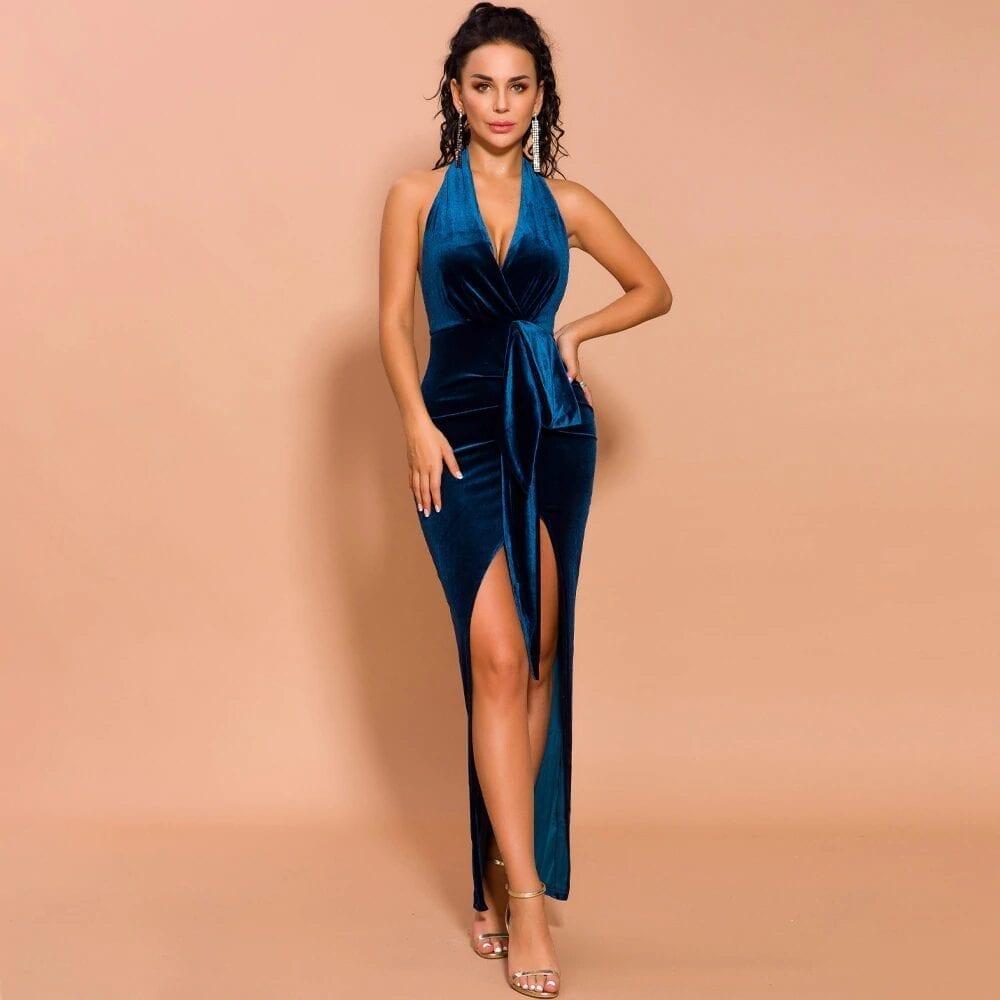 Elegant Blue High Slit Velvet Convertible Backless Dress