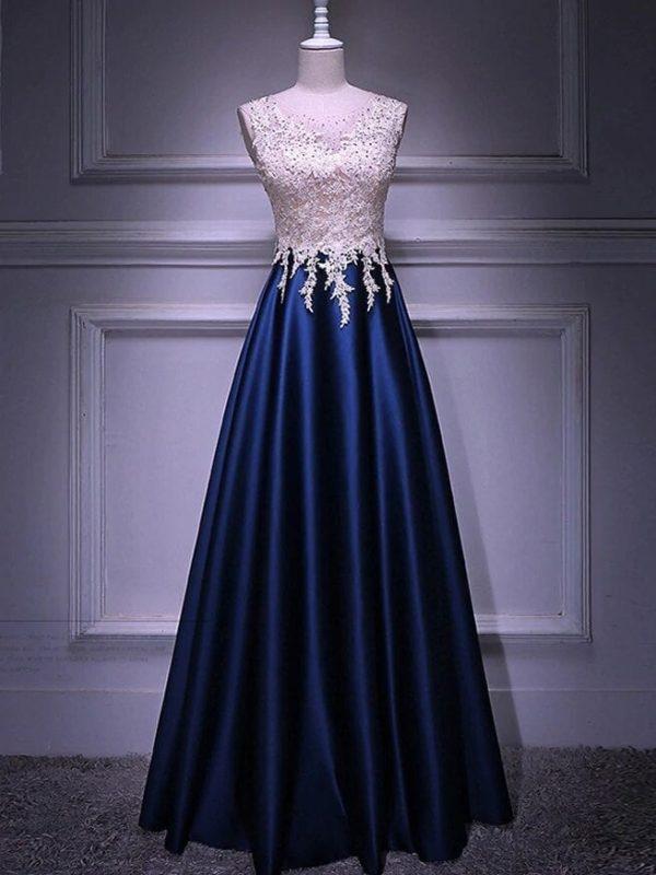 Navy Blue Satin Sleeveless Long Prom Dress