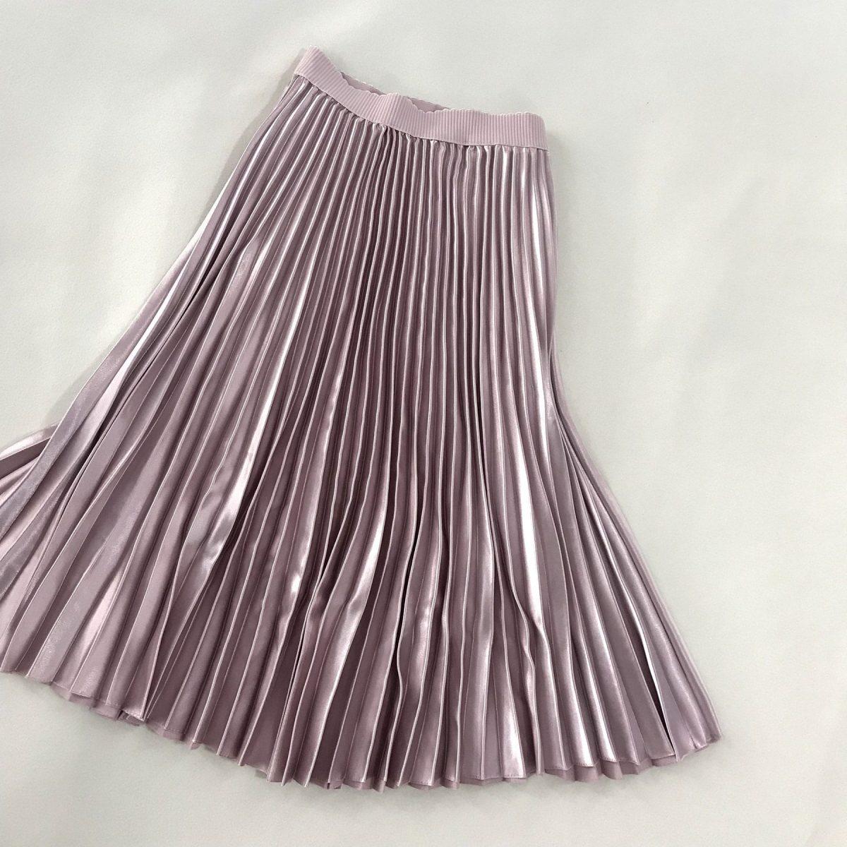 Pink A-line Pleated High Waist Midi Skirt