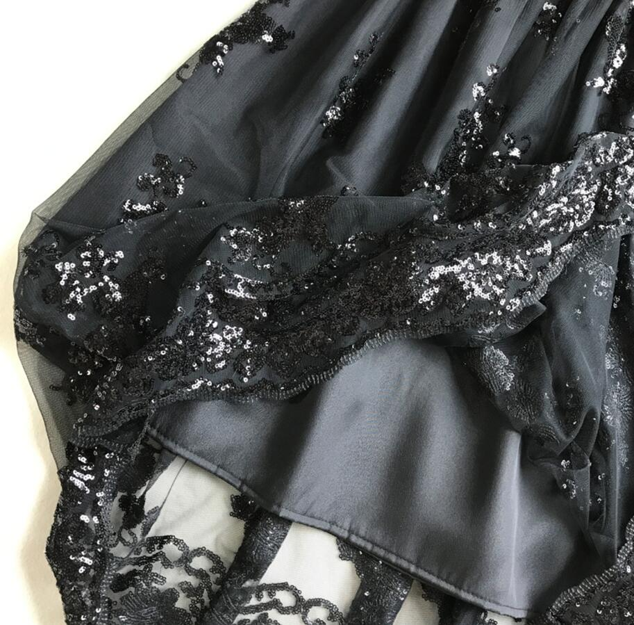 Black Khaki Sequin Lace High Waist Skirt