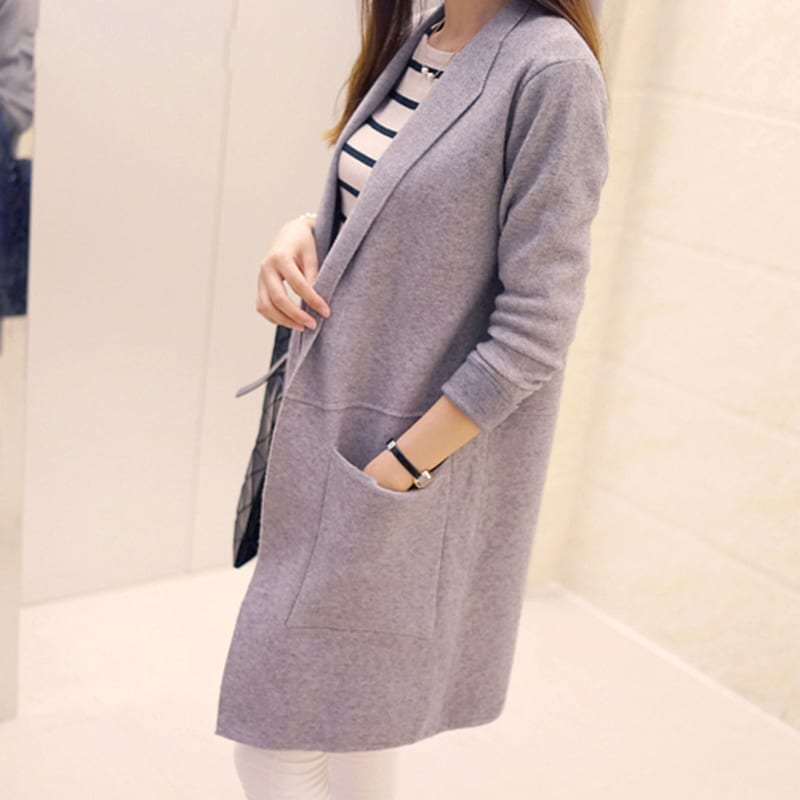 Knitted Long Sleeve Long Sweater Cardigan
