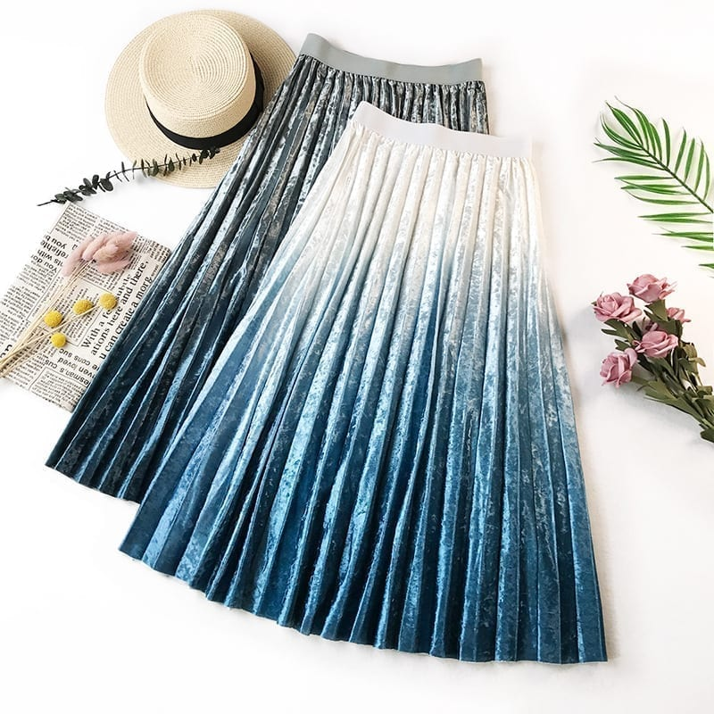 Gradient Velvet Pleated Skirt