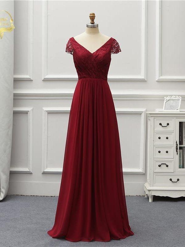 Wine Red Short Sleeves V Neck Lace Chiffon Long Bridesmaid Dress