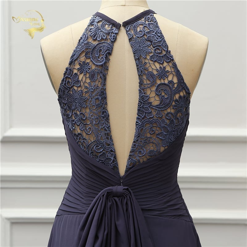 Elegant Halter Open Back Long Evening Dress