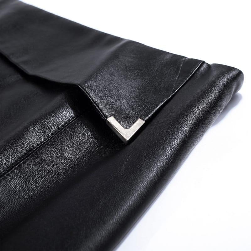 Elegant Split High Waist Leather Skirt