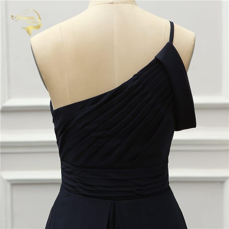 Black One Shoulder Long Bridesmaid Dress