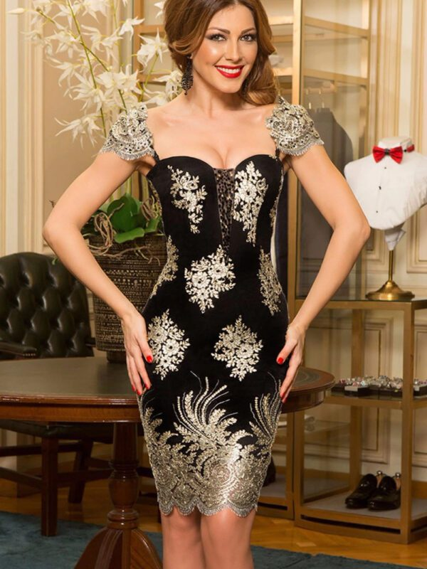 Elegant Lace Black Gold Embroidered Bodycon Dress