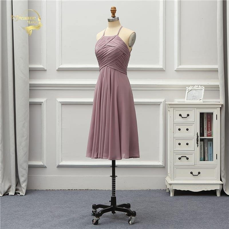 Elegant Halter Chiffon Knee Length Bridesmaid Dress