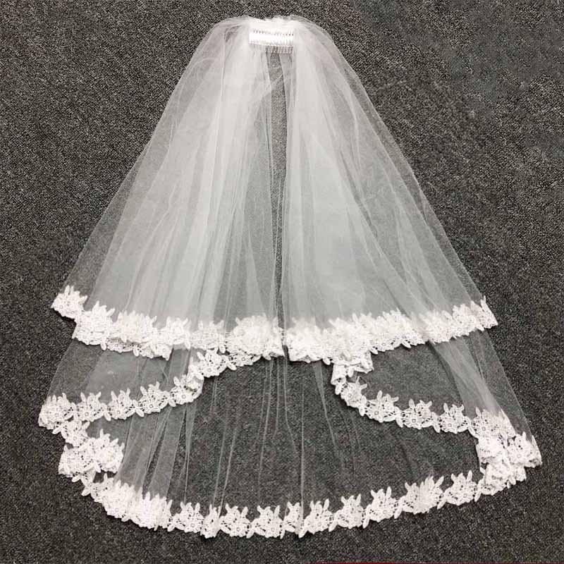 Lace Ribbon Edge With Comb Two Layers Wedding Veil