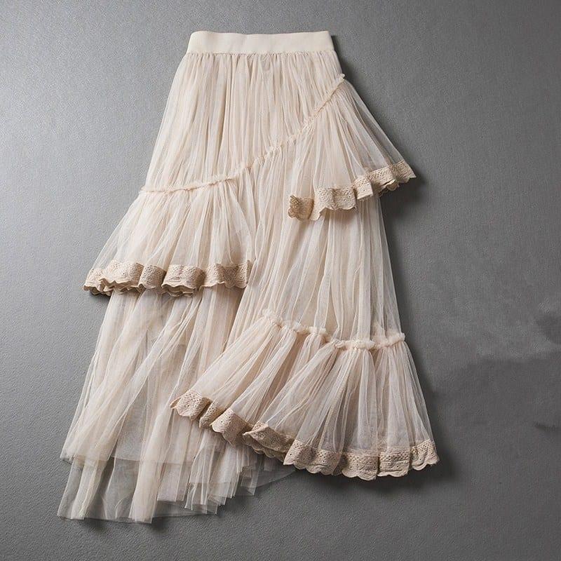 Beige Black White Irregular Lace Multi – Layer Net Waist Skirt