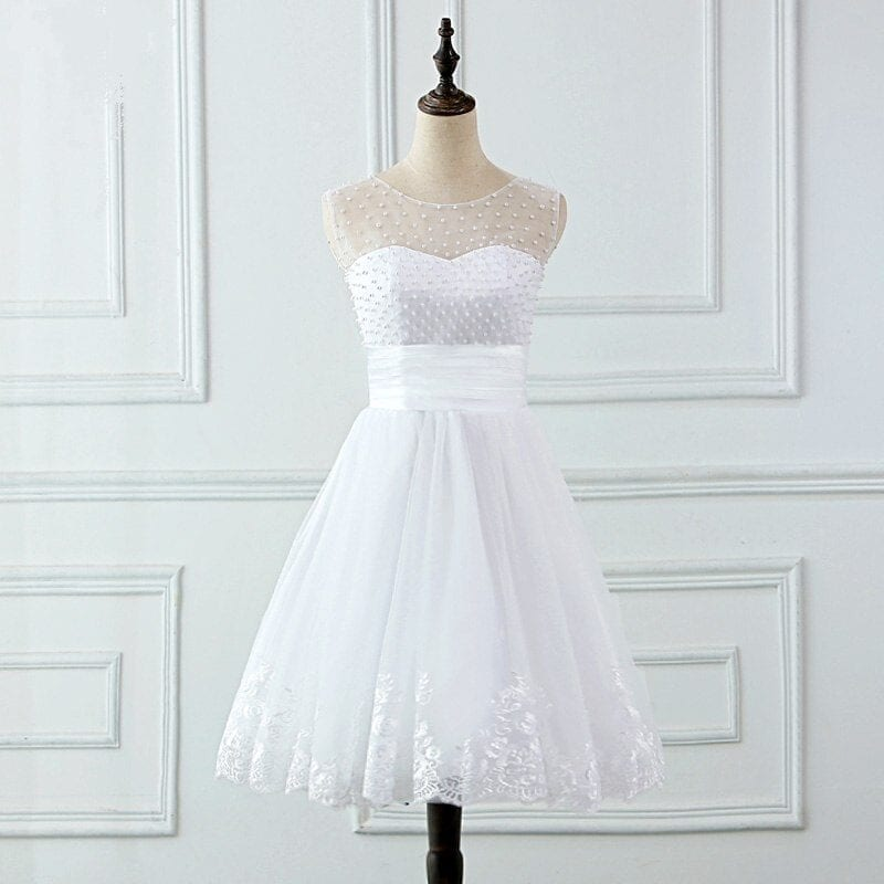 Lace Appliques Pearls Lace Up Back Short Wedding Dress