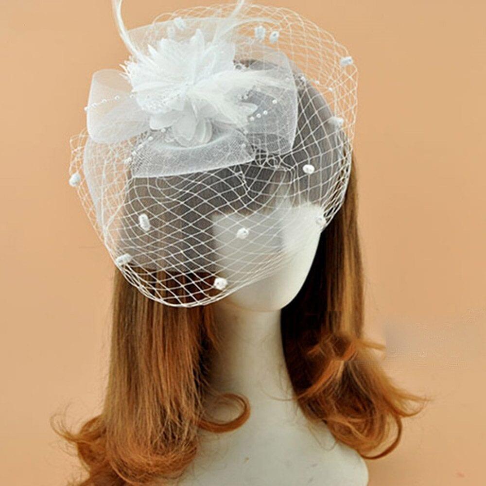 Ivory White Black Red Birdcage Net Wedding Face Veil