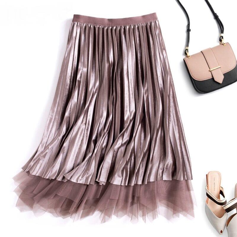 Reversible Velvet Tulle High Waist Pleated Skirt