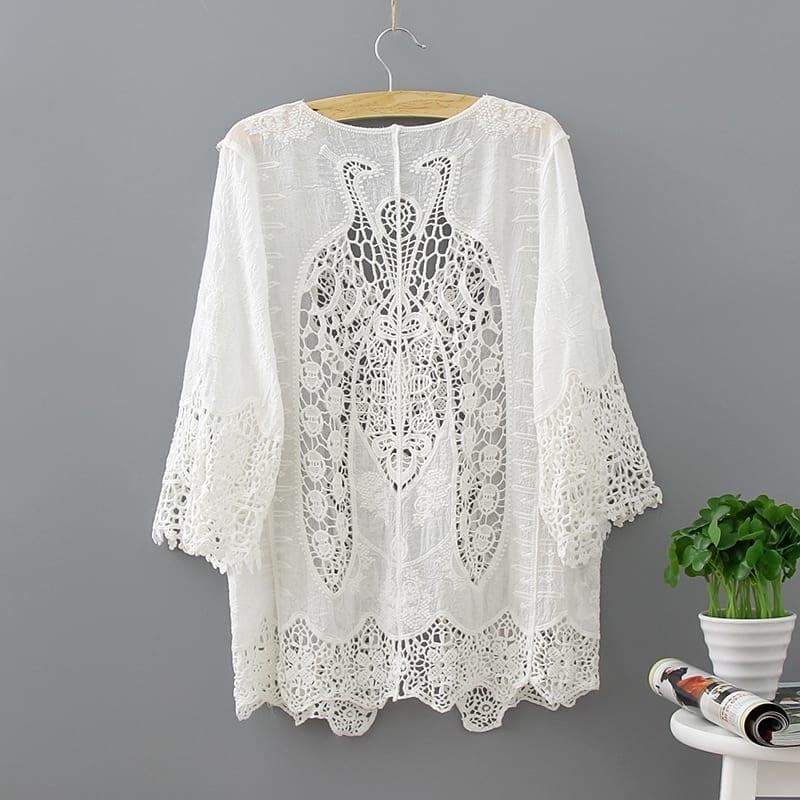 White Lace Hollow Out Half Sleeve Kimono Cardigan Blouse