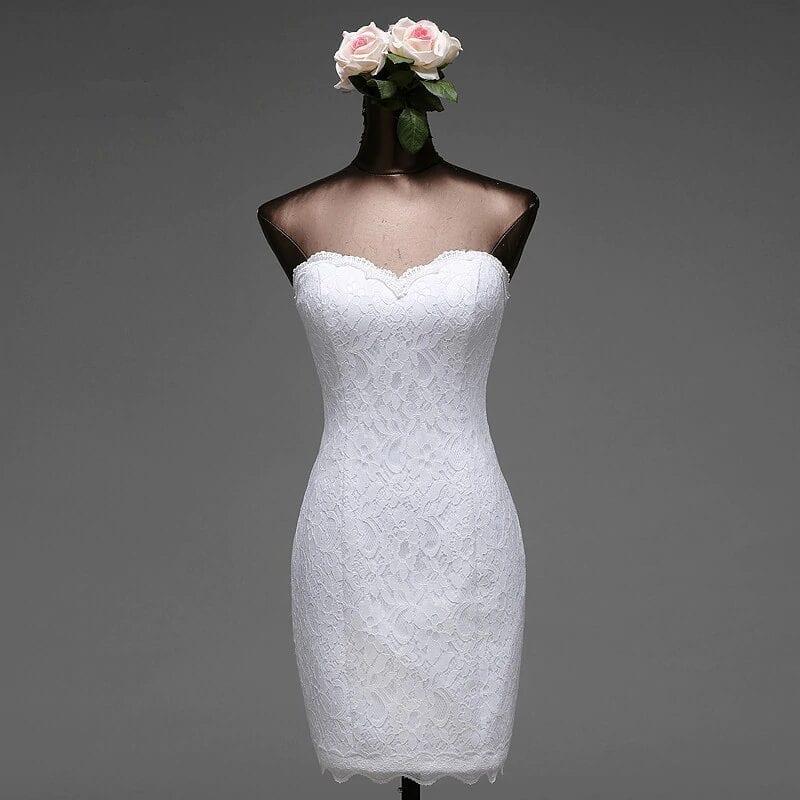 Lace Flowers Short Mermaid Wedding Dress