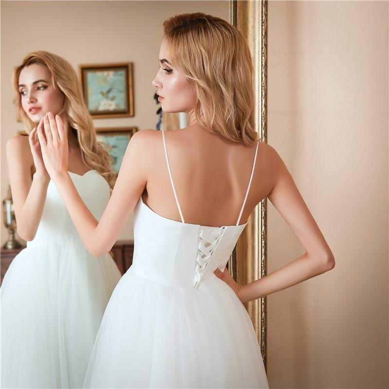 White Backless A-line Short Beach Wedding Dress