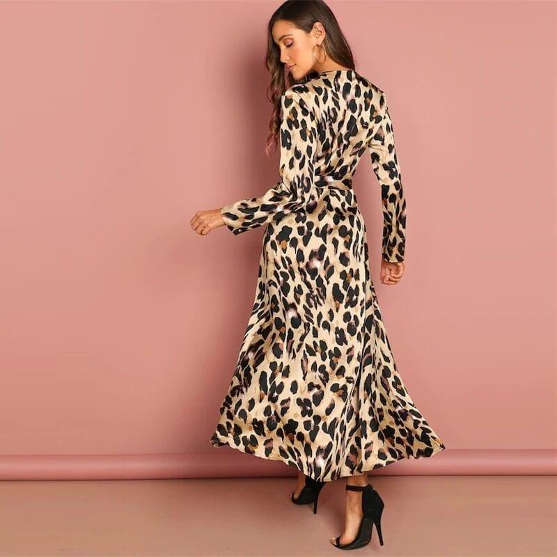 Deep V-neck Wrap Satin Leopard Vintage Dress