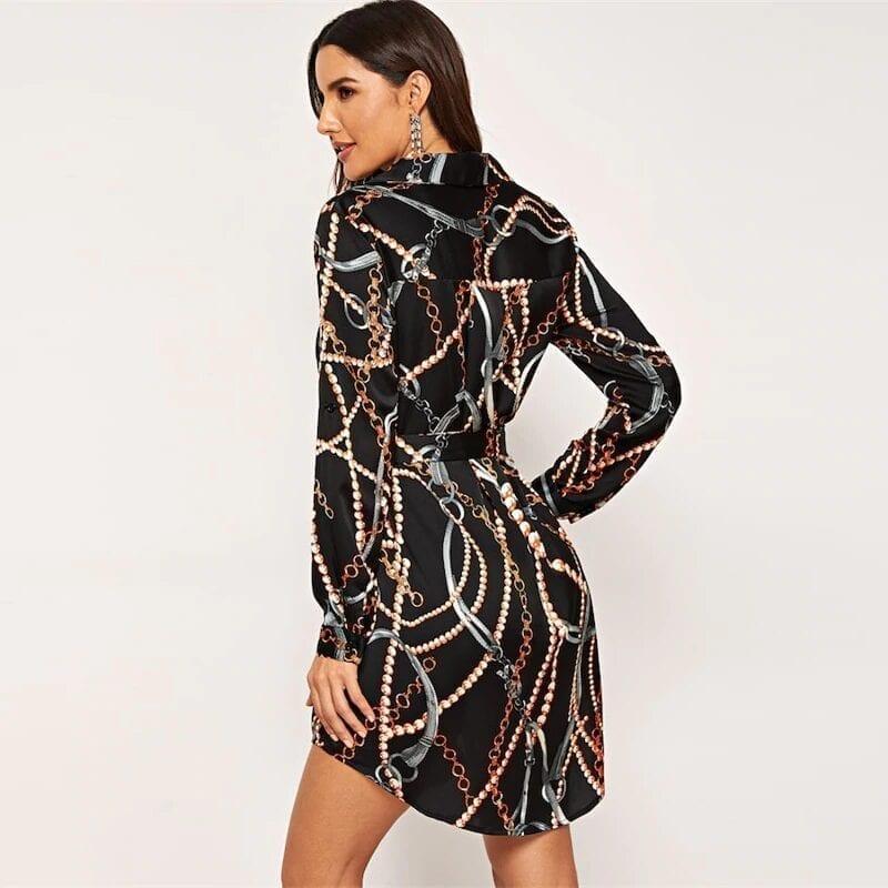Black Curved Belted Collar Elegant Satin Shirt Dress