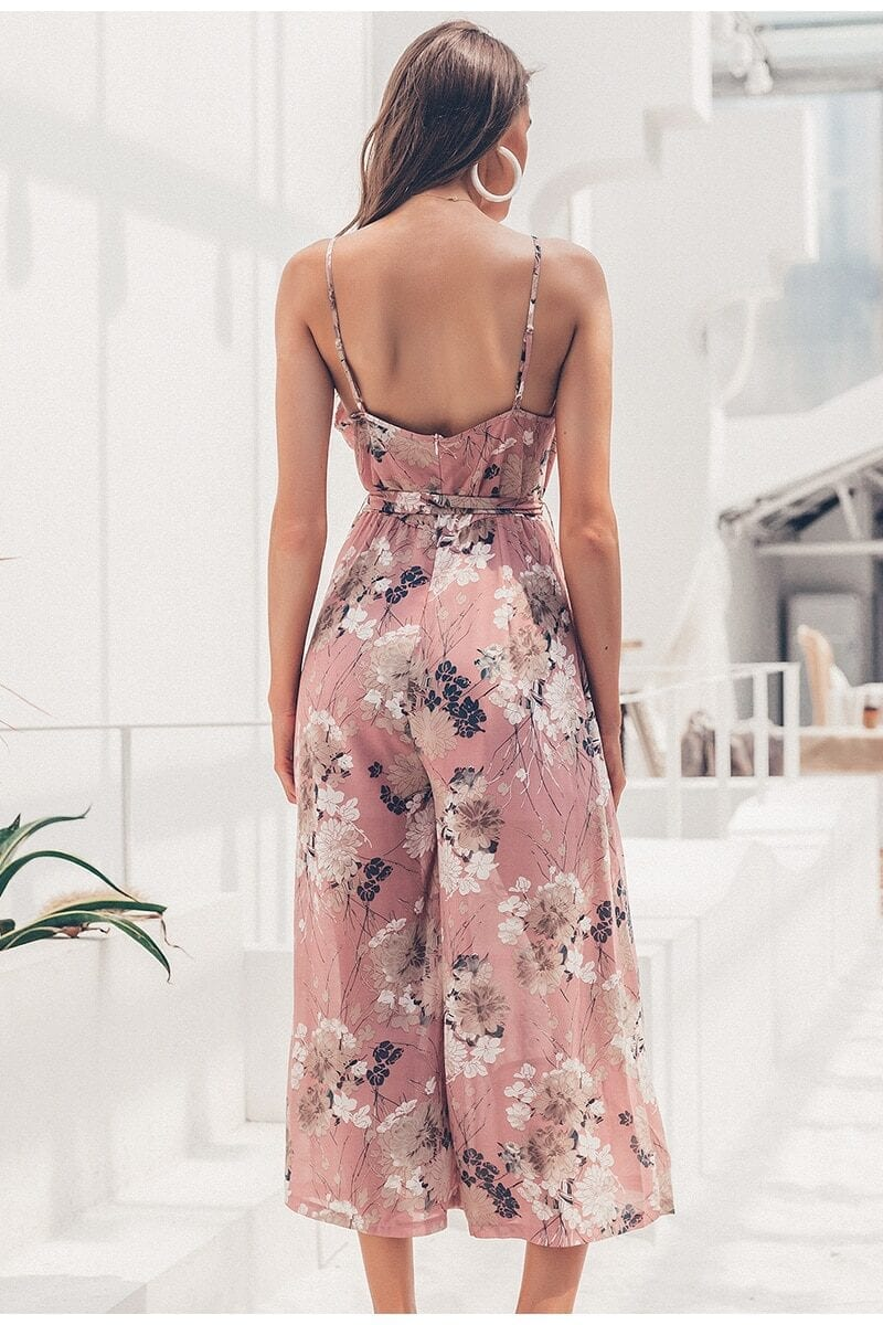 Elegant Ruffled Floral Print V-neck Spaghetti Strap Sashes Jumpsuit Romper