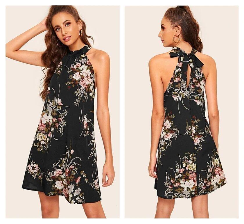 Black Floral Print Tie Back Halter Boho Dress