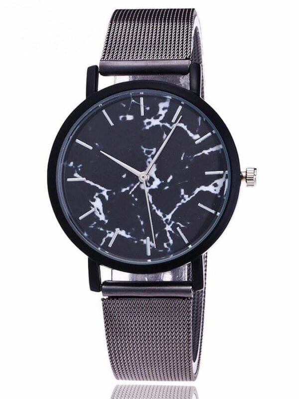 Silver Gold Mesh Band Creative Marble Wrist Watch