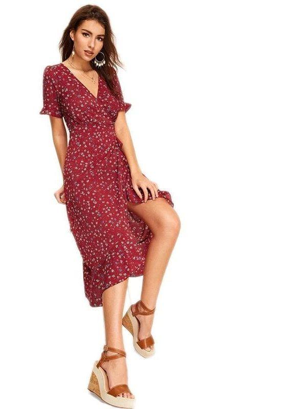 Burgundy V Neck Floral Print Tie Back Wrap Dress
