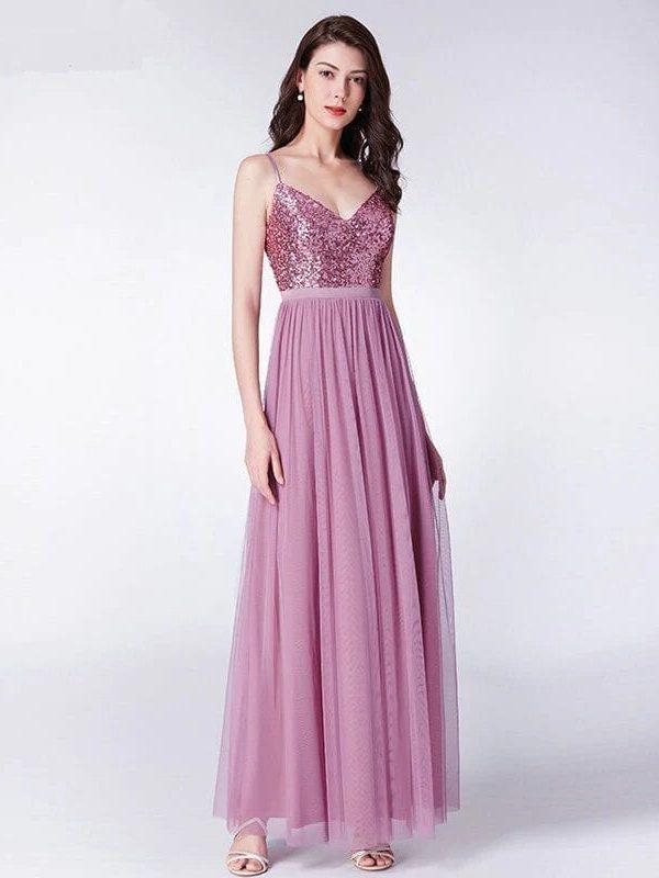Elegant A Line V Neck Tulle Sequins Long Bridesmaid Dress