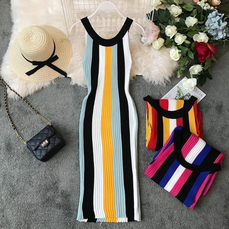 Sleeveless Round Neck Rainbow Vertical Striped Vintage Knit Dress