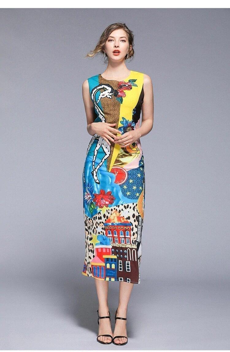 Print O-neck Sleeveless Mid-calf Straight Zippers Dress