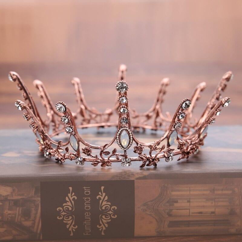 Vintage Baroque Round Crown Bridal Wedding Hair Accessories