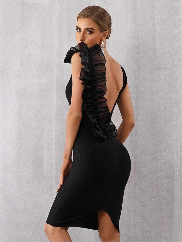 Black V-neck Ruffles Mesh Backless Bodycon Bandage Dress