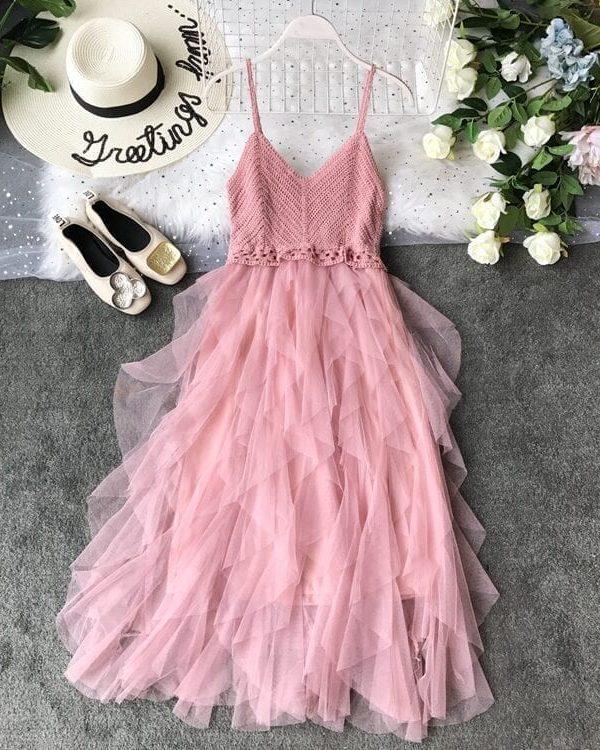 Pink White Yellow Mesh Knitted Ruffled Patchwork Gauze Dress