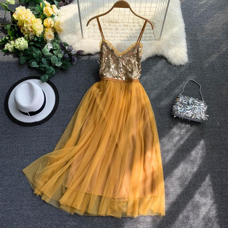 V-neck Sequins Backless Sleeveless A-line Dress
