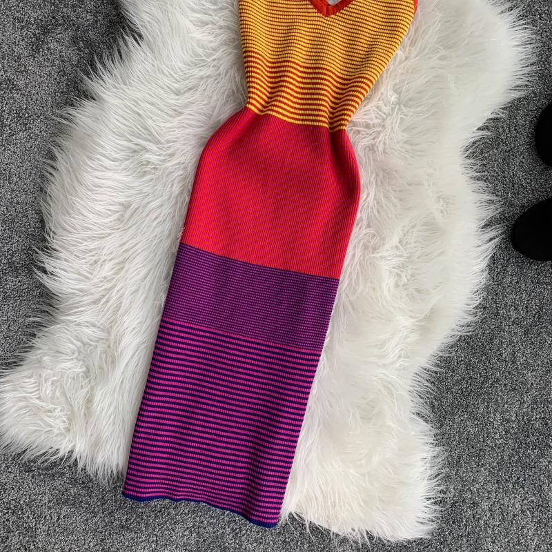 Rainbow Striped Colorful V-collar Sleeveless Knit Dress