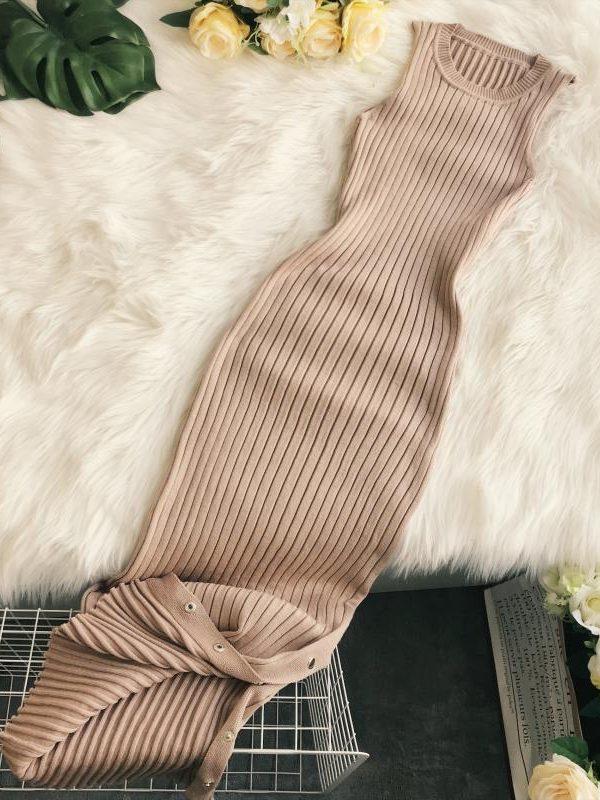 Knitting Round Neck Sleeveless Mid-length Dress