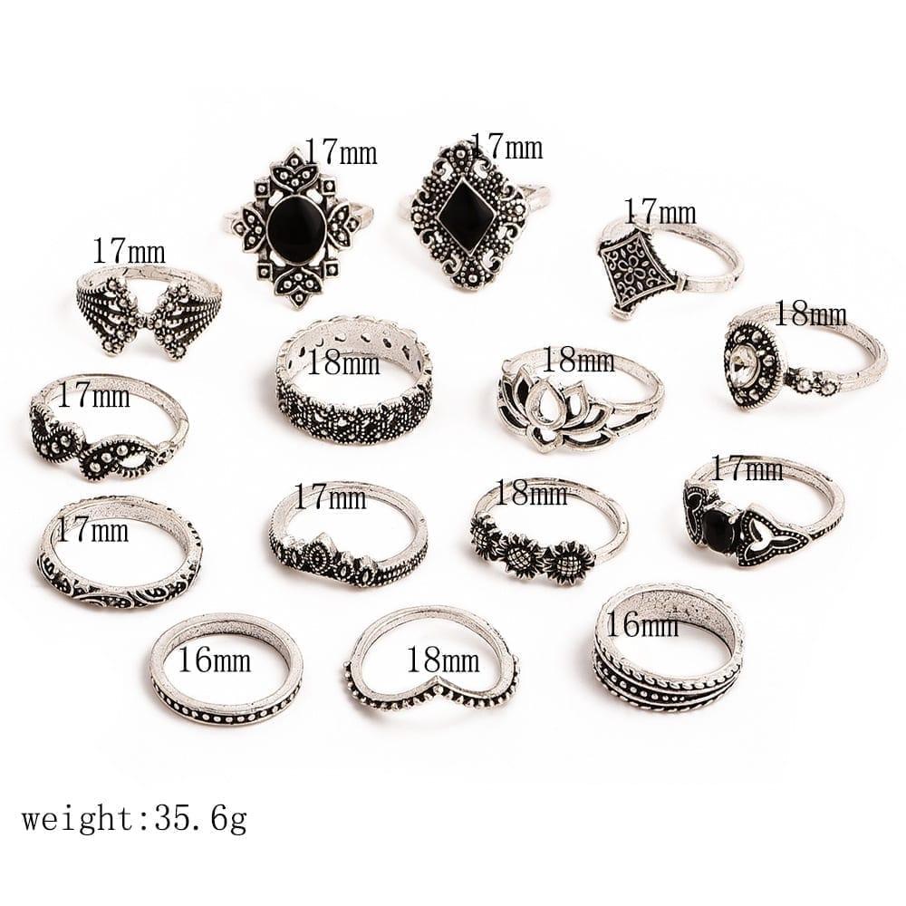 15 Pcs/set Bohemian Retro Crystal Flower Leaves Hollow Lotus Gem Silver Ring Set